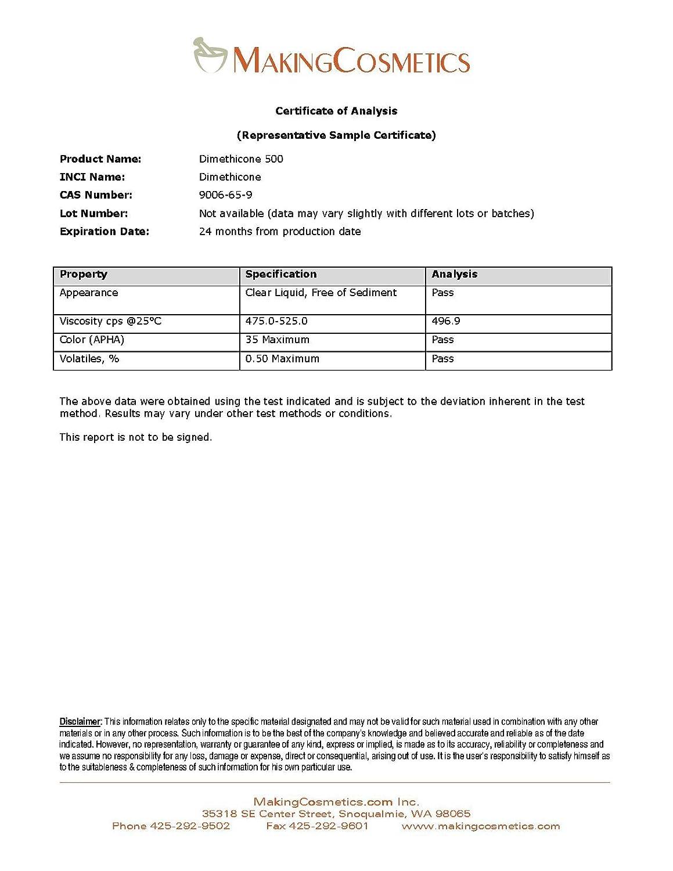 MakingCosmetics - Dimethicone 500-4 2floz / 125ml - Cosmetic Ingredient