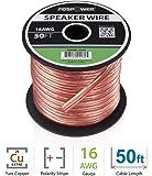 FosPower 16AWG 純銅 高純度OFC スピーカーケーブル/スピーカーワイヤー【16ゲージ | 15メートル】アンプやA/Vレシーバにオーディオスピーカーを接続