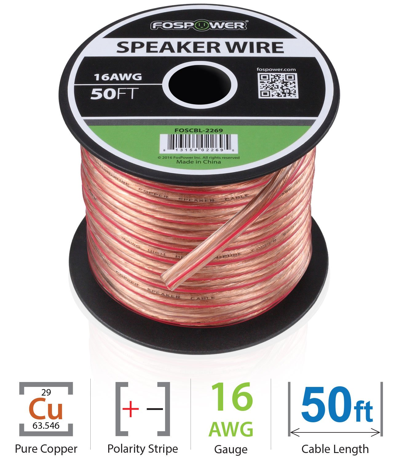 FosPower 16AWG Speaker Wire [16 Gauge | 50 FT] Premium Spooled Oxygen-Free Copper OFC Speaker Wire with Clear PVC Jacket & Polarity Stripe