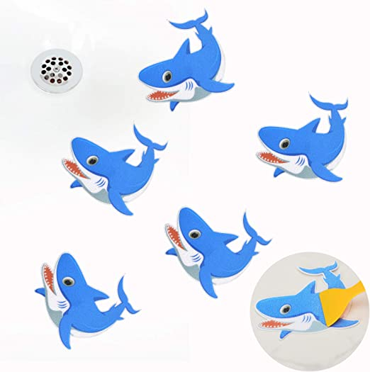 Blue KarlunKoy Non Slip Bathtub Stickers Safety Shower Treads Sticker Tub Tattoo Shark Shaped Bathroom Applique Decal with Scraper Pack of 5
