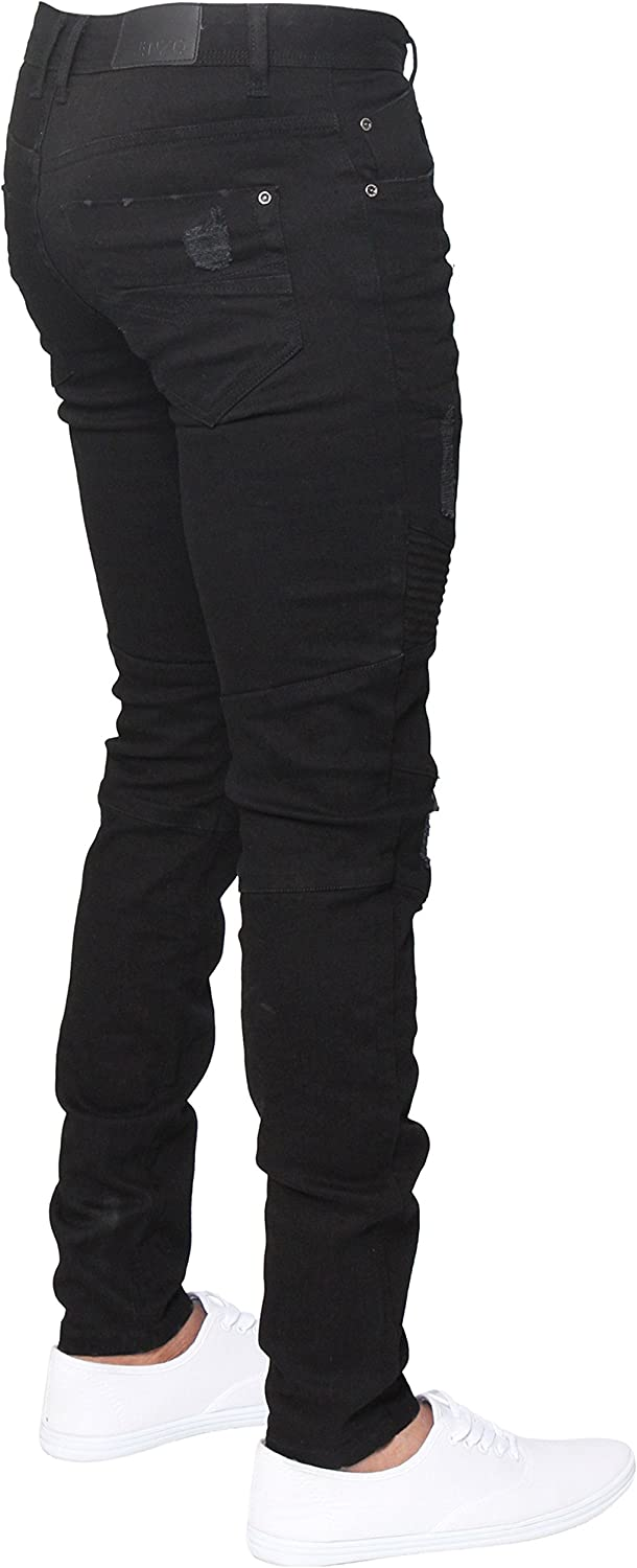 ENZO Mens Designer Stretch Skinny Fit Biker Denim Jeans Pants All Waist Sizes