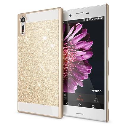 NALIA Funda Carcasa Compatible con Sony Xperia XZ, Protectora Movil Purpurina Cubierta Dura Delgado Glitter Hard-Case, Telefono Bumper Smart-Phone ...
