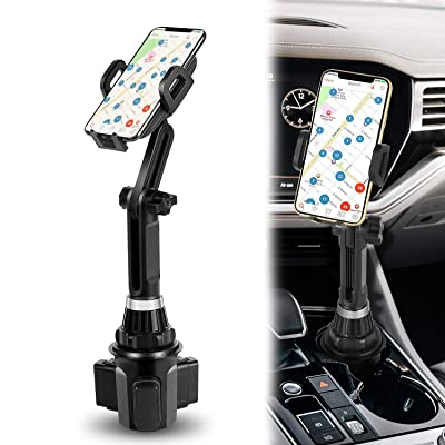 Cup Holder Phone Mount Cell Phone Holder for Car with Adjustable Base and Flexible Gooseneck Compatible for iPhone Samsung by TDTOK
