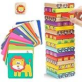 Nene Toys - Torre de Bloques Infantil de Madera 4 en 1 con Colores y Animales – Juego de Mesa Familiar Educativo para…