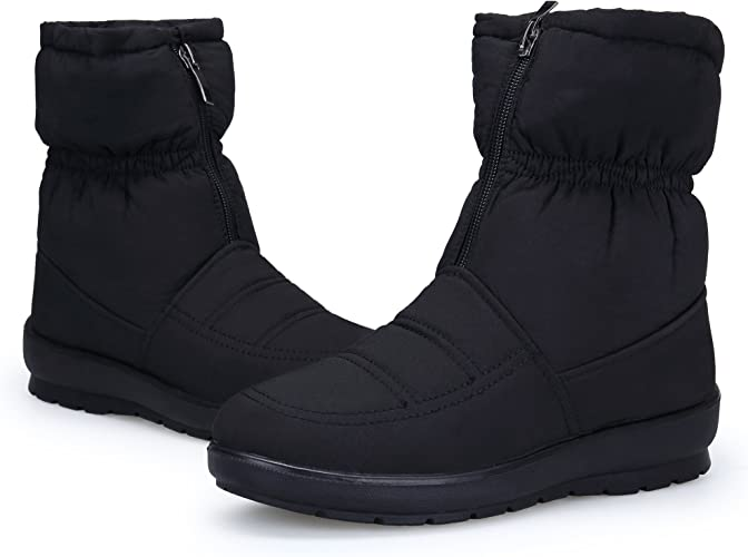 KOUDYEN Zapatos Invierno Botas Mujer Calentar Forrada Botines Planos Cremallera Botas de Nieve