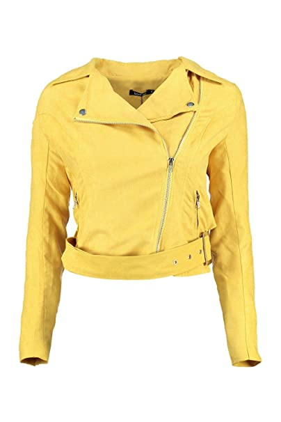 11d6f424f Boohoo Womens Petite Olivia Belted Suedette Biker Jacket in Turmeric ...