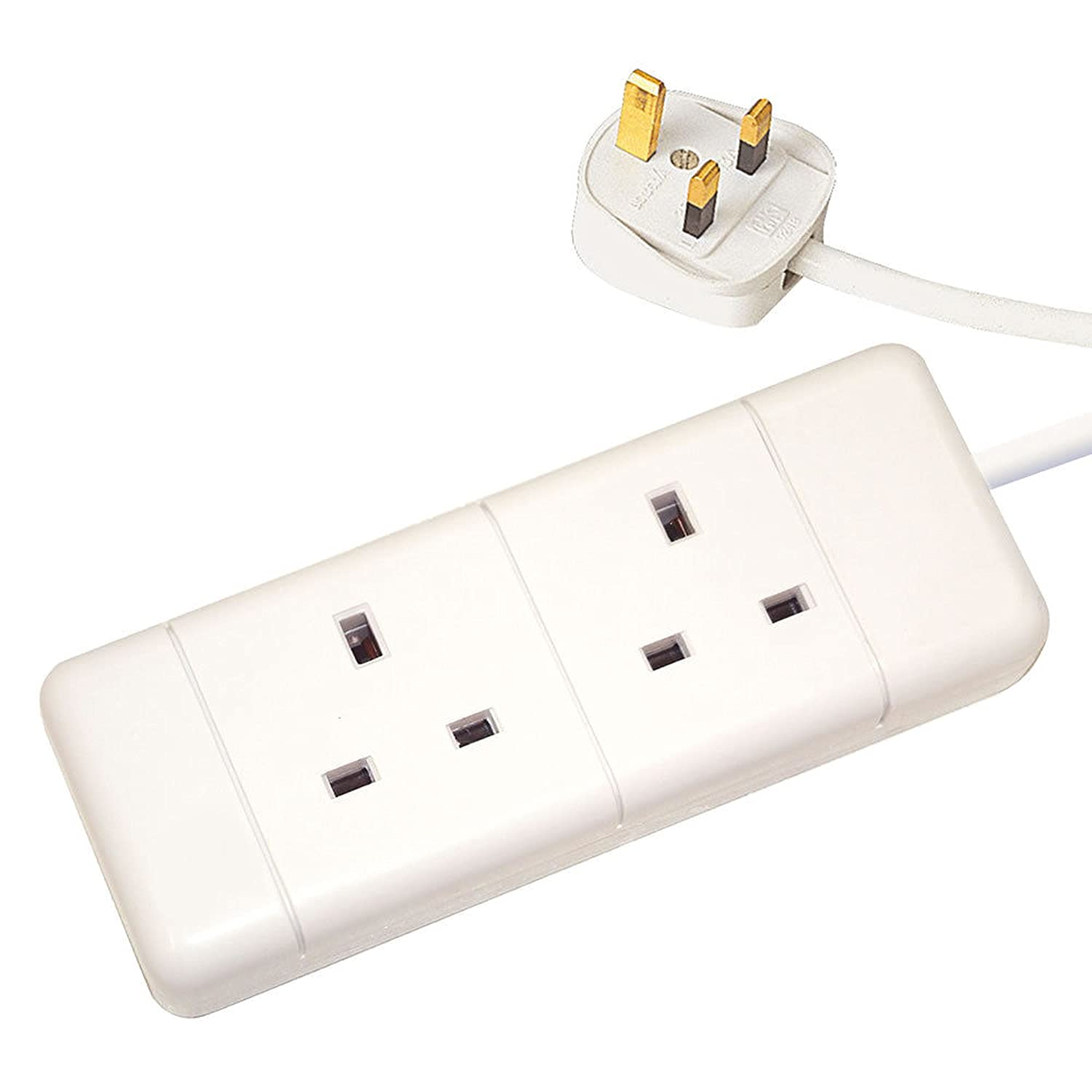 2 Way Gang Extension Socket 13amp 5m Long Lead Cable With Plug White