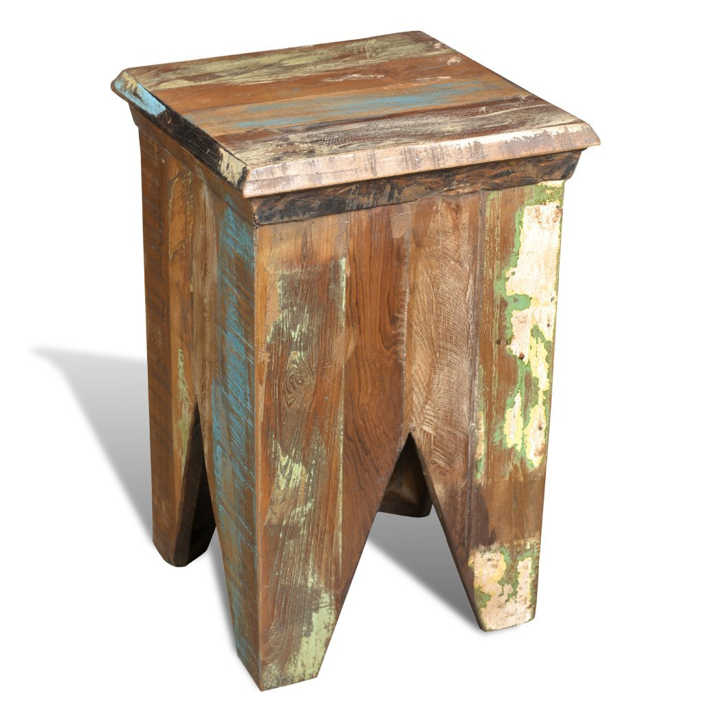vidaXL Reclaimed Home Furniture Vintage Wood Short Chair Stool ...