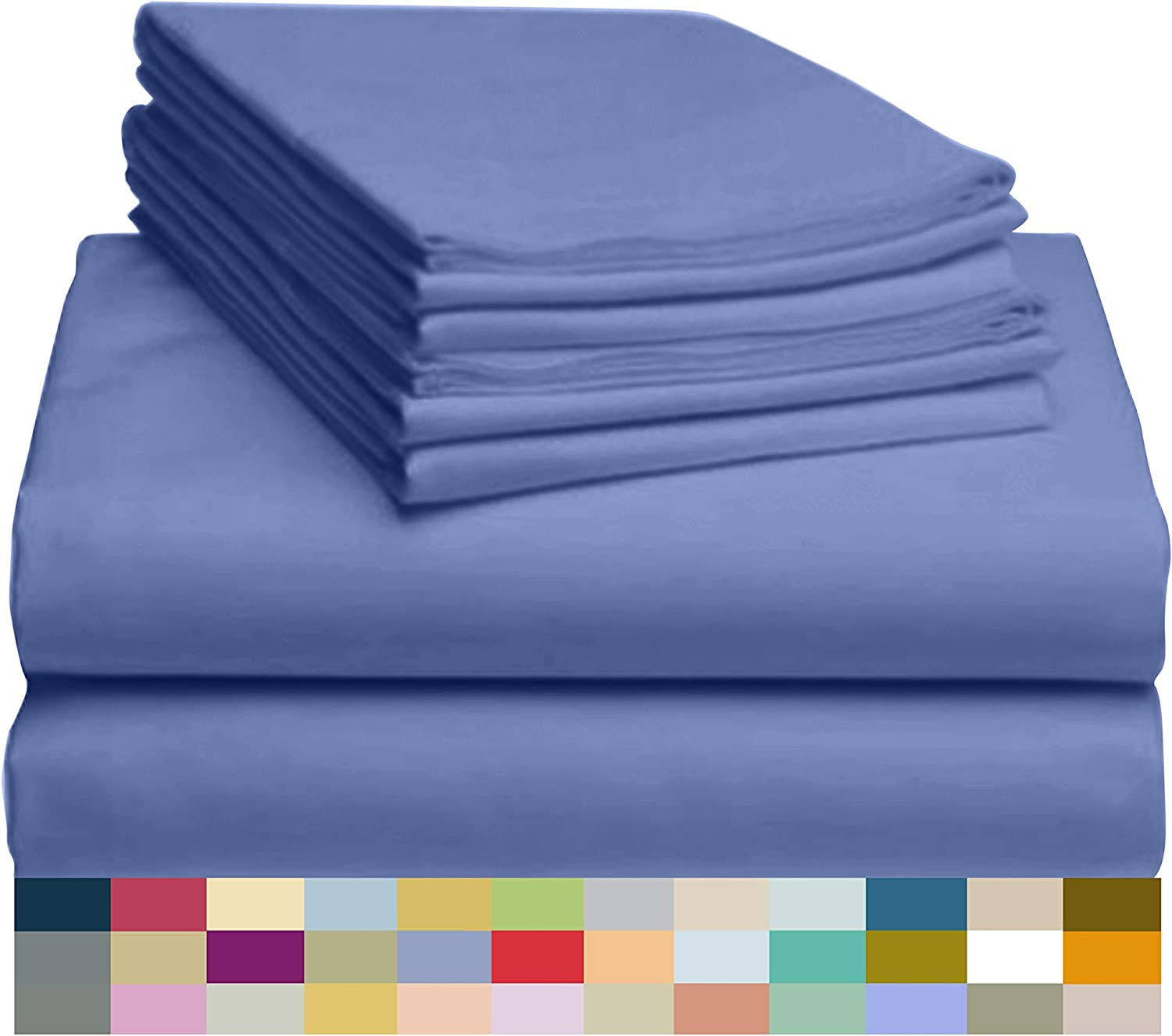 "LuxClub 6 PC Sheet Set Bamboo Sheets Deep Pockets 18"" Eco Friendly Wrinkle Free Sheets Hypoallergenic Anti-Bacteria Machine Washable Hotel Bedding Silky Soft - Violet Blue King"