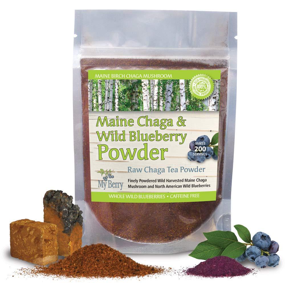 Maine Chaga & Wild Blueberry Tea Powder, Makes Over 200 Servings
