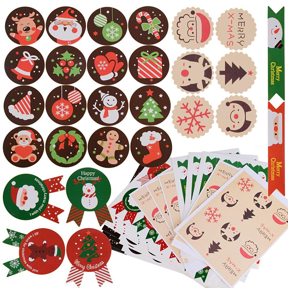288pcs Pegatina Navidad Etiqueta Adhesiva Redonda Papel Decoración Cajas Regalos Bombones Caramelo Fiesta Sello Bolsas 24 hojas: Amazon.es: Hogar