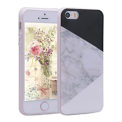 Asnlove Funda iPhone 5s, Carcasa Suave iPhone 5, Funda Mármol Efecto Natural Patrón TPU Carcasa Flexible Gel Silicona Cascara Bumper Case Cover ...