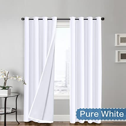 Flamingo P Light Reducing Pure White Curtains Faux Silk Satin With Liner Thermal Insulated Window