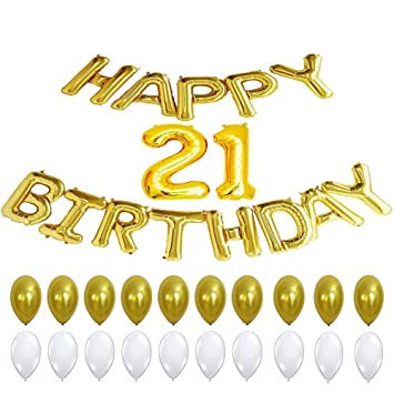 21st Birthday Party Decorations Happy Banner Balloons Gold Letter Number For Birthfay