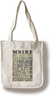 product image for Lantern Press Portland Head Lighthouse, Maine - Typography (100% Cotton Tote Bag - Reusable)