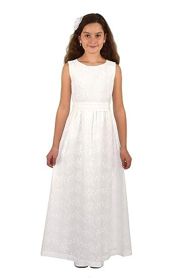 Verasposa® Langes Kommunionkleid Ella feine, hochwertige Baumwollstickerei 100% Baumwolle Ivory