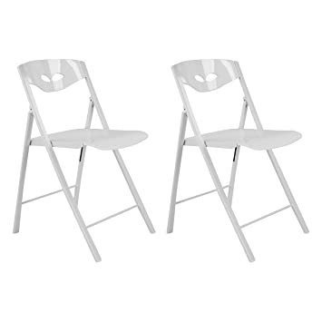 Corner Housewares SpaceMaster Contemporary Radiant Style Armless Guest  Space Saving Kitchen Folding Steel Frame Side Chairs