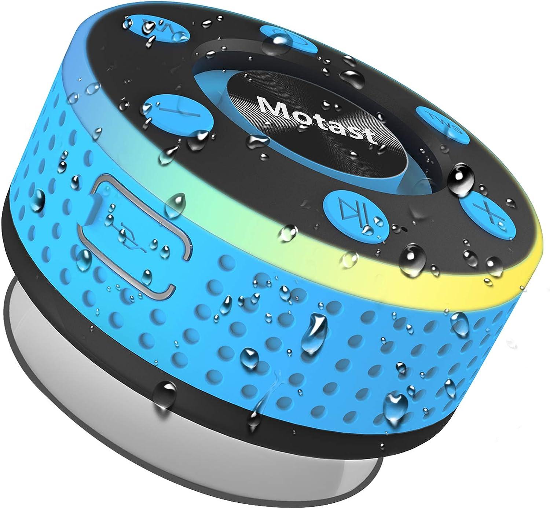 Motast Altavoz Bluetooth, IP7 Impermeable Altavoz Ducha, Bluetooth 5.0 Altavoz Portatil Bluetooth con Luz LED de respiración, 360 ° Sonido Estéreo, Potente Ventosa, para el Hogar, Aire Libre, Viajes