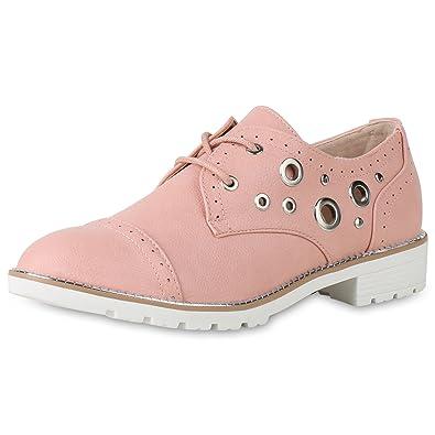 4d0add420f SCARPE VITA Klassische Damen Schuhe Halbschuhe Nieten Ösen Leder-Optik  Schnürschuhe 156547 Rosa 36