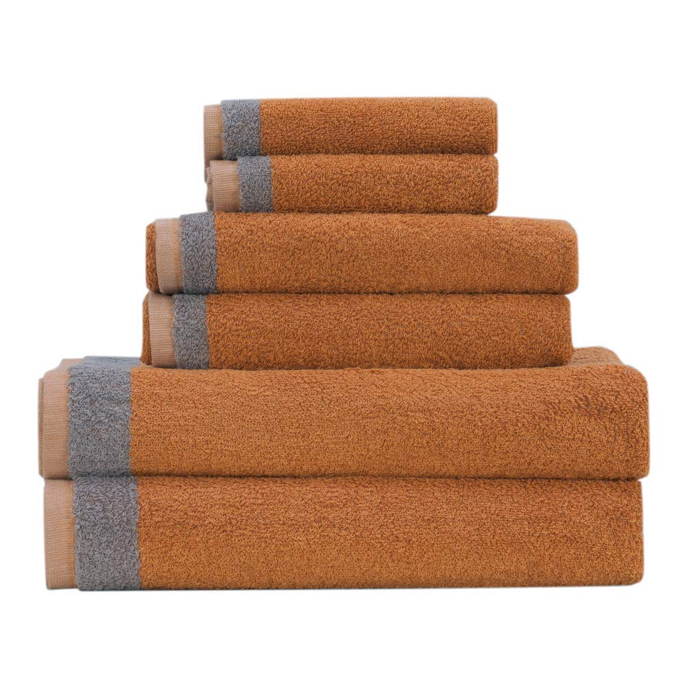 Premium 6 Piece Home Bath Towel Set, 2 Bath Towels, 2 Hand Towels and 2 Washcloths, Luxury Cotton Hotel & Spa Quality with Modern Design, Super Soft and Highly Absorbent Collection (Orange)