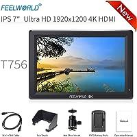 "Feelworld T756 Kamera Monitor 7"" 4K HDMI Ultra HD 1920x1200 Field Video LCD IPS Bildschirm 1200:1 Hohes Kontrast für Camera, Steady Cam, DSLR Rig, Camcorder Kit, Handheld Stabilisator"