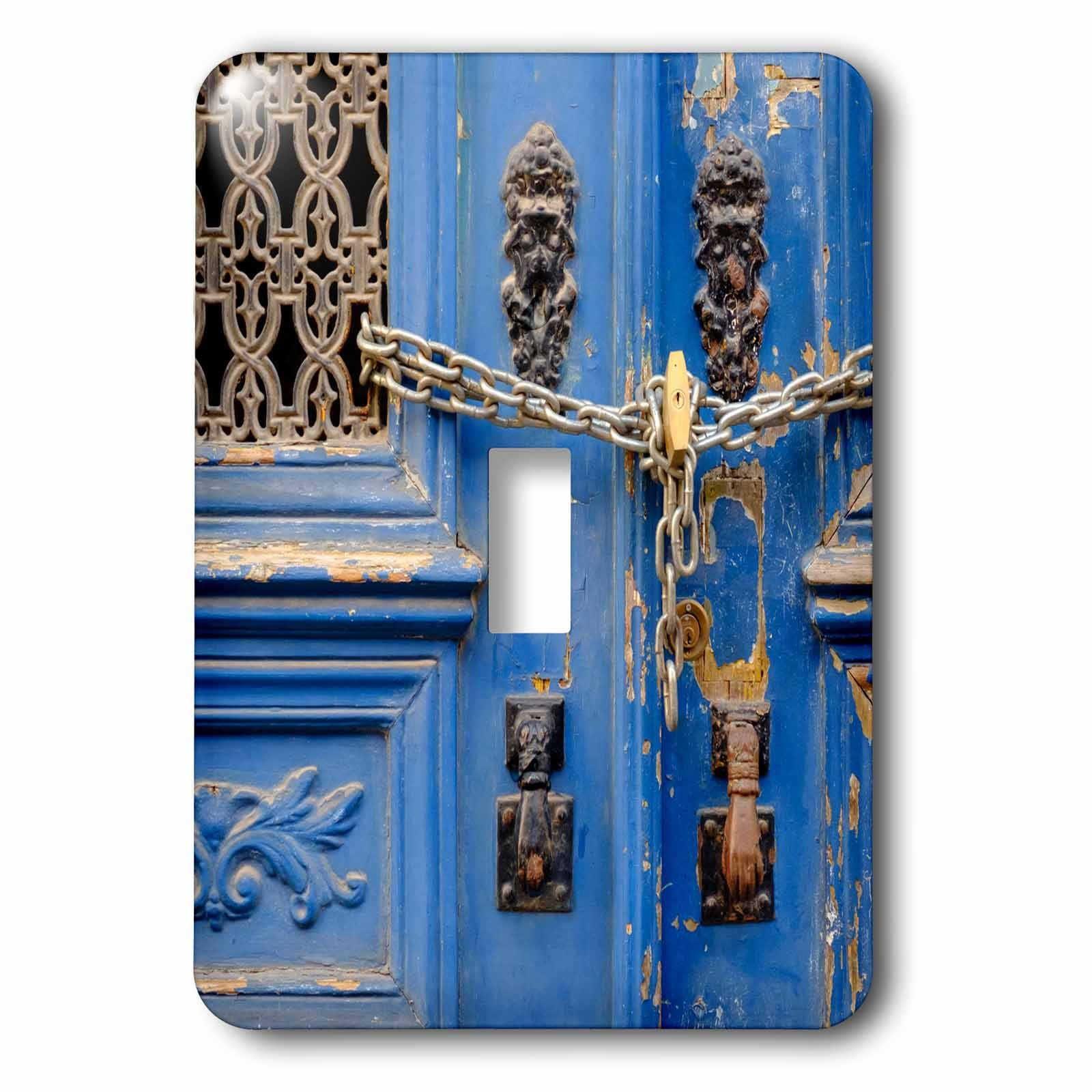 3dRose Danita Delimont - Lisbon - Portugal, Lisbon. Blue door, chain lock, Hand of Fatima door knockers. - Light Switch Covers - single toggle switch (lsp_249438_1)