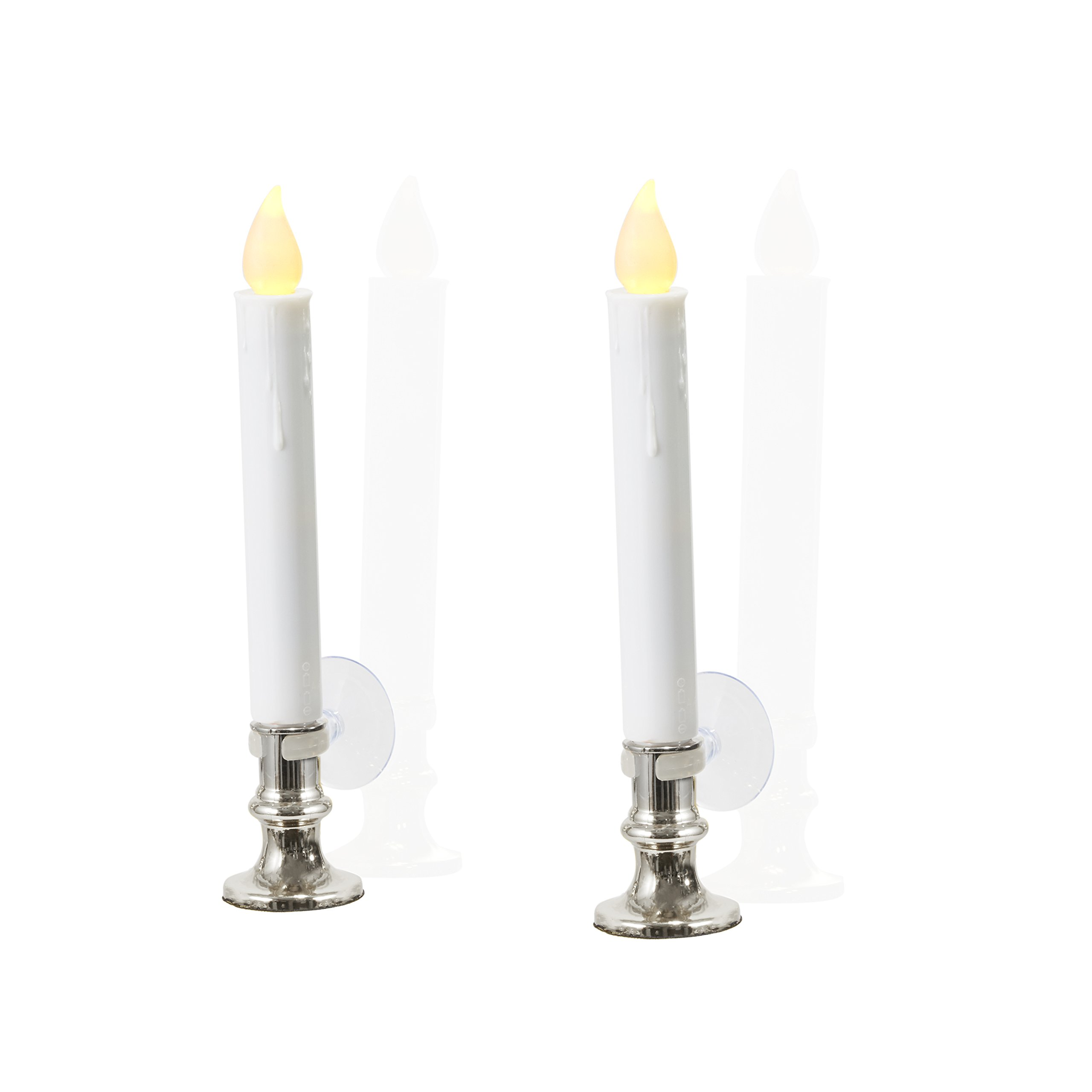 Flameless White LED Taper Candles with Silver Removable Candle Holders, Remote & Batteries Included - Set of 8 by LampLust (Image #4)