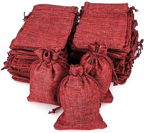 Image ofRUBY - 50 bolsitas Saco de Yute 9,5 cm x 13,5 cm, Bolsas de Regalo, bolsitas de Tela Bolsas Yute para Joyas, Bolsas de arpillera con cordón, Saco Navidad, Saco carbón, bolsitas Regalos (Granate)