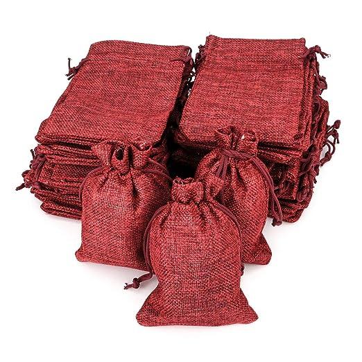 Ruby - 50 bolsitas Saco de Yute 9,5 cm x 13,5 cm, Bolsas de Regalo, bolsitas de Tela Bolsas Yute para Joyas, Bolsas de arpillera con cordón, Saco ...