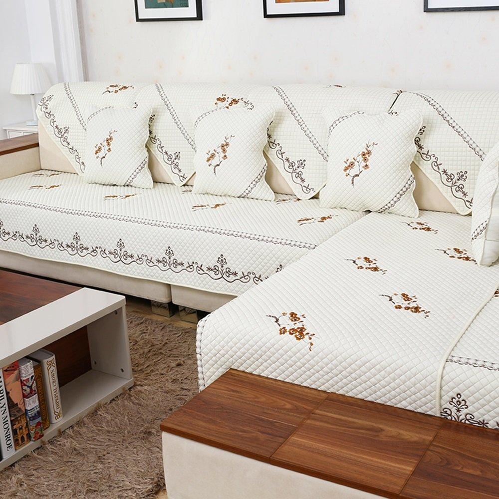 Lamei - ベージュの白いソファのクッション、四季の生地の庭のクッション、リビングルームの滑り止めマット ( サイズ さいず : 110*240cm ) 110*240cm  B078R967MZ