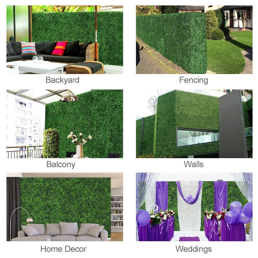 GorgeousHome Artificial Hedge Plant Panels, Privacy Screen Hedge,Greenery Ivy Privacy Fence Screening for Both Outdoor or Indoor Decoration,20'' x 20'', Milan,24pc