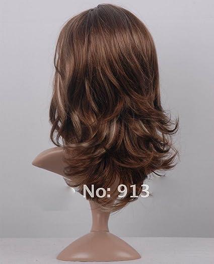 Peluca Curly Wings de Aukmla, pelo ondulado de color castaño, para mujer