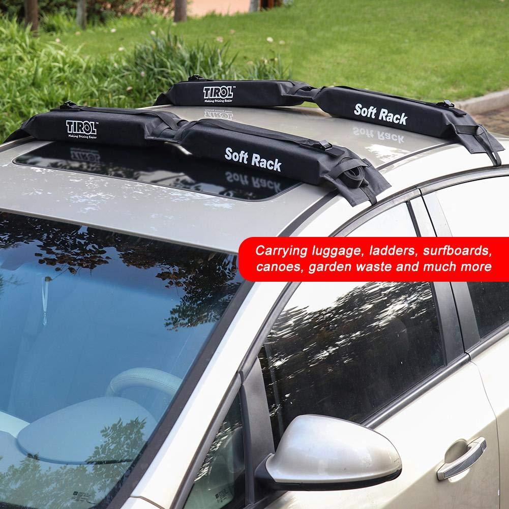 BEENZY / Universal Foldable Oxford Car Portapacchi Mensola Morbida Portapacchi sul Tetto Barre sul Tetto per Auto Portabagagli sul Tetto Portapacchi Adatto per Kayak Nero Tavole da Surf