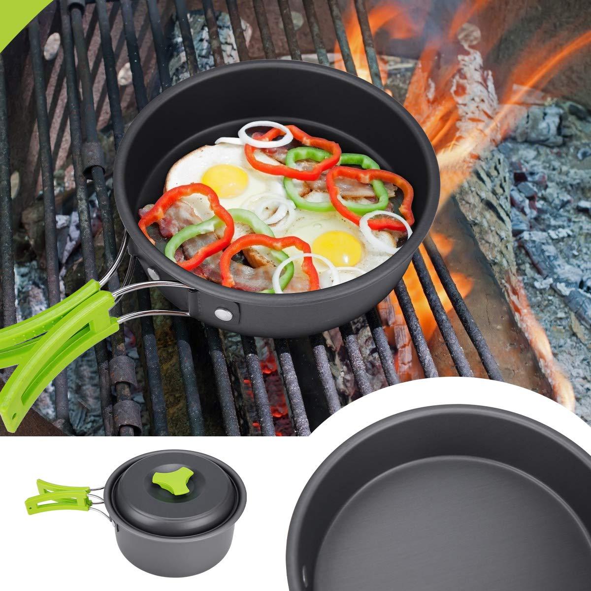 l/éger Casseroles +po/ëles de Camping//Randonn/ée Batterie de Cuisine Lixada 12 pi/èces Ensemble Cuisine de Camping Mousquetons Antiadh/ésif pour 1-2 Personnes