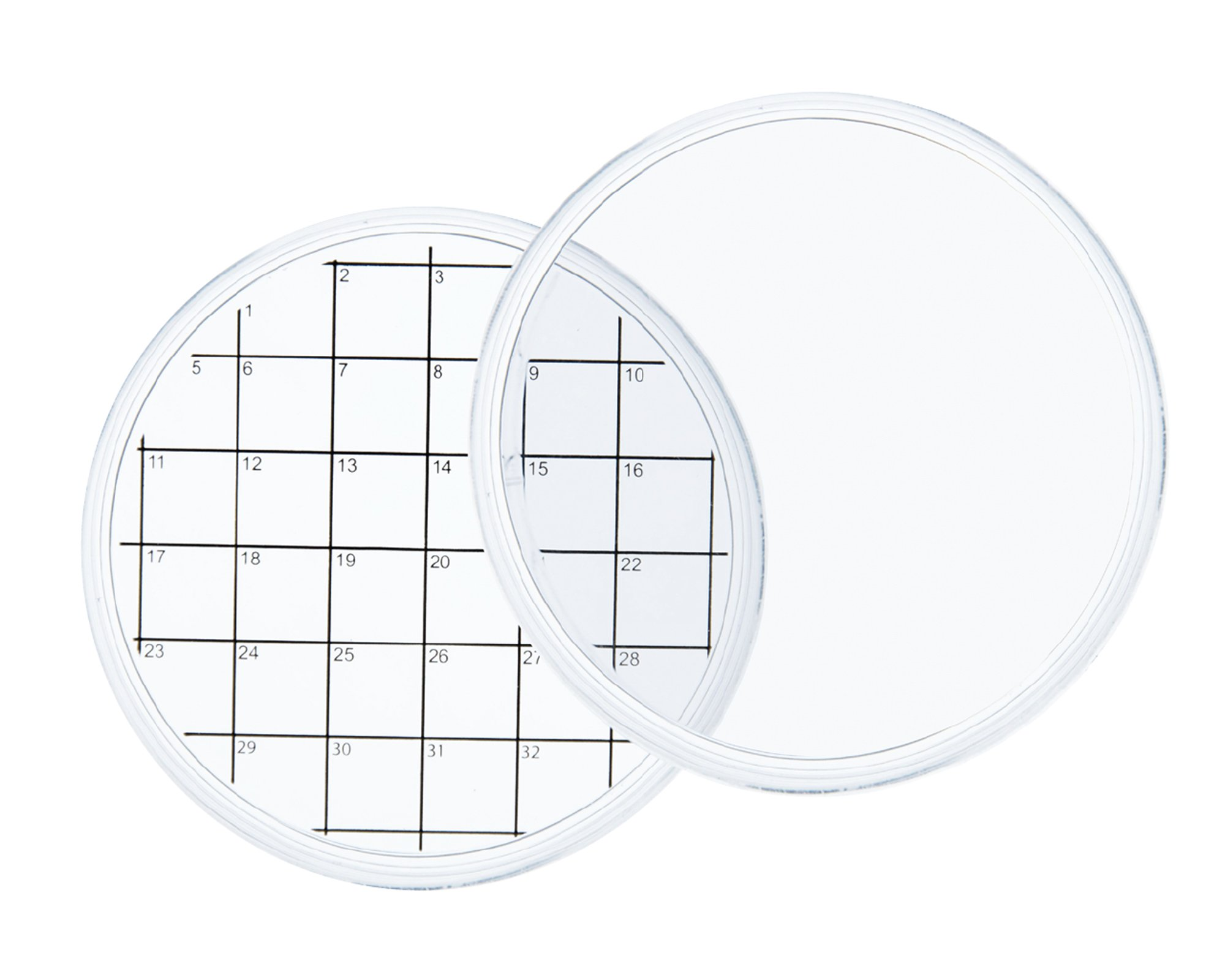 Chemglass CLS-1806-01 Grid Bottom Culture Sterile Dish, 70mm Diameter (Pack of 10)