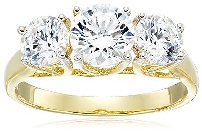 fe5dd61bbd2 Jewelili 10kt Yellow Gold 3 Stone Ring Set with Round Cut Swarovski  Zirconia (2 cttw