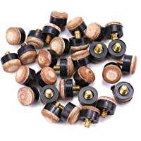 Monrocco 30PCS 12mm Hard Leather Billiards Pool Cue Stick Screw-on Tips