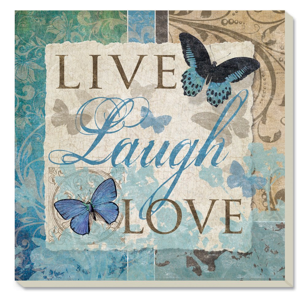 Counter Art Live-Laugh-Love Butterfly Absorbent Coasters (Set of 4)