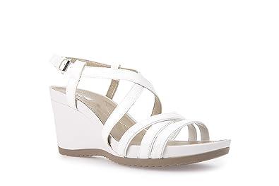 87b4c10d0e727 Geox D New Rorie B, Sandales Bout Ouvert Femme, Blanc Cassé (Off Whitec1002