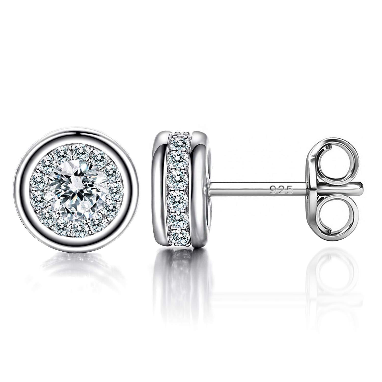 WISHMISS Sterling Silver Stud Earrings Cubic Zirconia Earrings Hypoallergenic for Women (white-gold) by WISHMISS