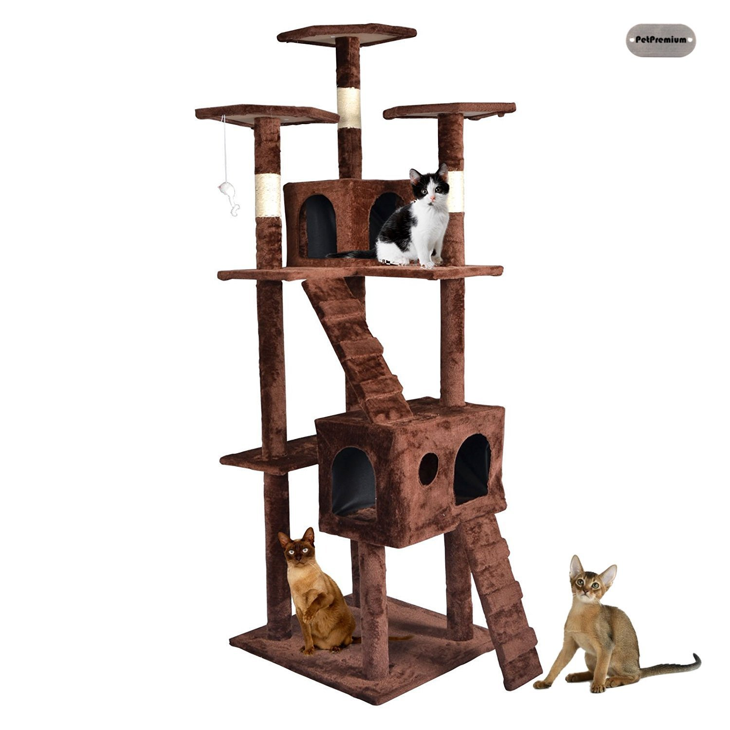 PetPremium Cat Kitten Tree Tower Condo | Indoor Bed Perch Modern Sturdy | Scratcher Scratching Post Furniture Play Pet Home House | 73'' Height, Brown
