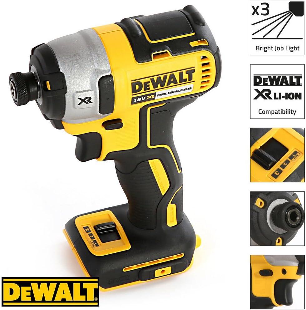 Dewalt DCF887 18V Brushless Impact Driver with DWST1-71195 Case /& 56piece Bit Set