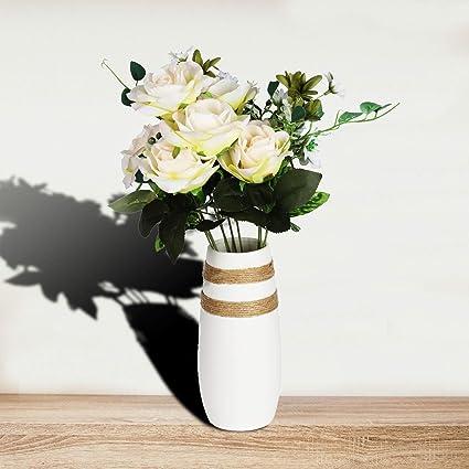 Caeser Archy jarrón de cerámica moderna flores blancas jarrones para la sala de estar decoración del