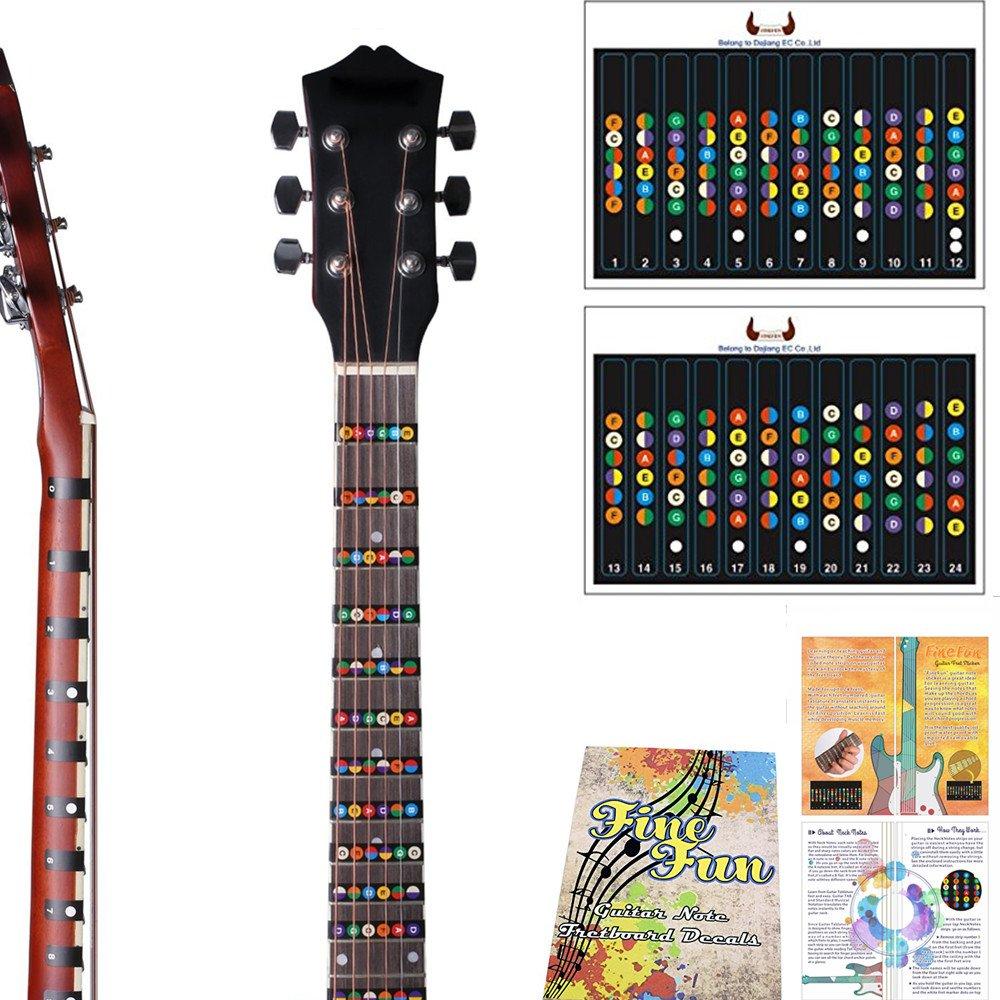 Pegatina para notas de guitarra, trastes de diapasón, para principiantes, aprendices, práctica de 6 cuerdas, guitarra eléctrica acústica para guitarra ...