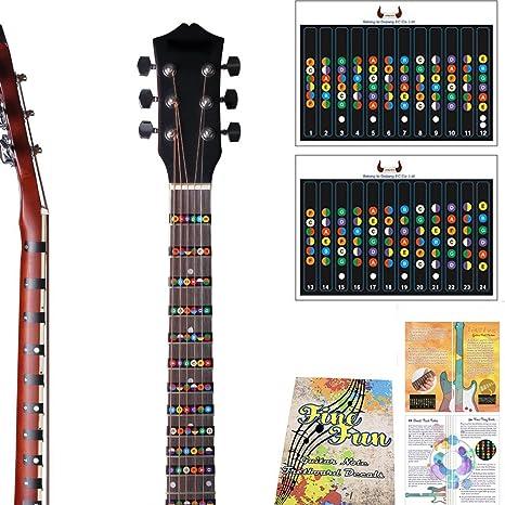 Pegatina para notas de guitarra, trastes de diapasón, para principiantes, aprendices, práctica