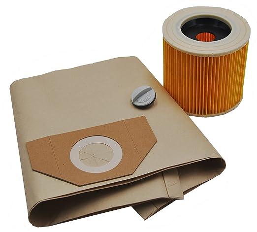 10 bolsas para aspiradora + 1 filtro adecuado para Kärcher 6.959 – 130.0 6.414 – 552.0 WD 3.200, 3.300 M, 5.800, WD 3.500, WD 3.800 WD 3.200, 4001, ...