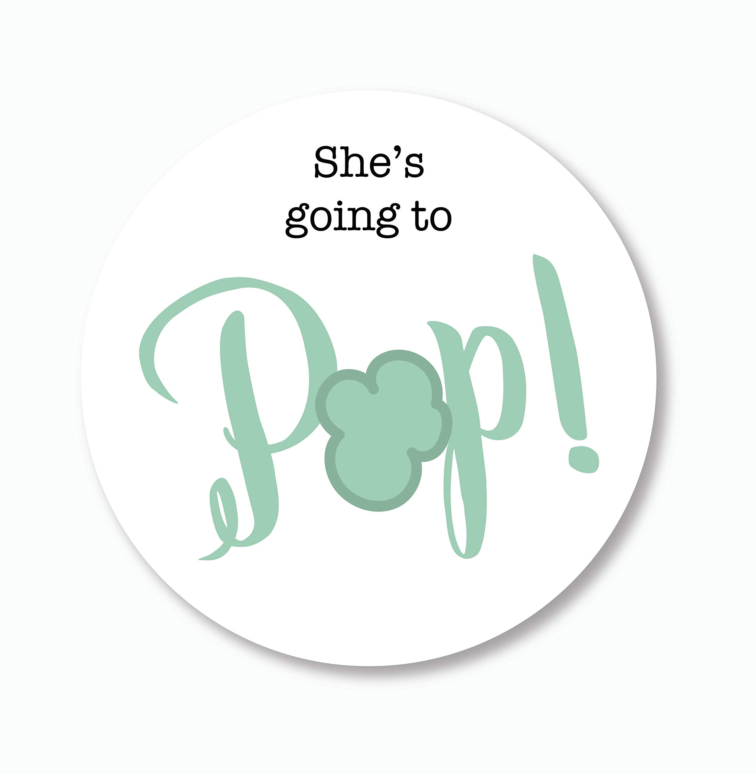 40ct, Going to Pop Stickers, Baby Shower Popcorn Stickers, 2 inches (368-3-MT)