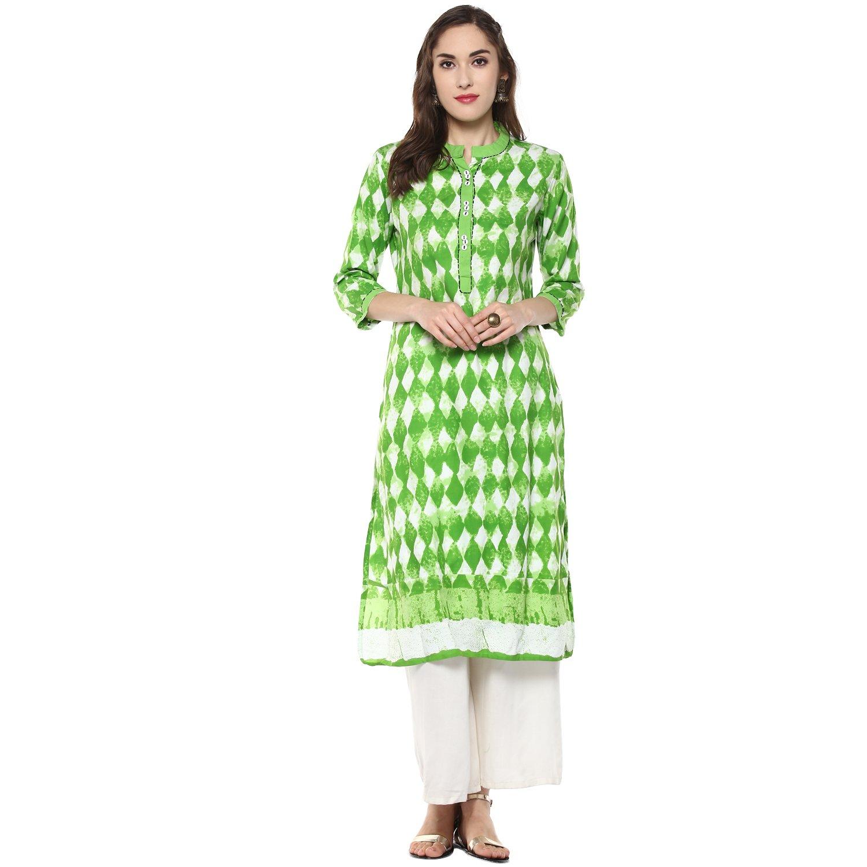 RIDAN Women's Cotton Green Straight Kurta (M)