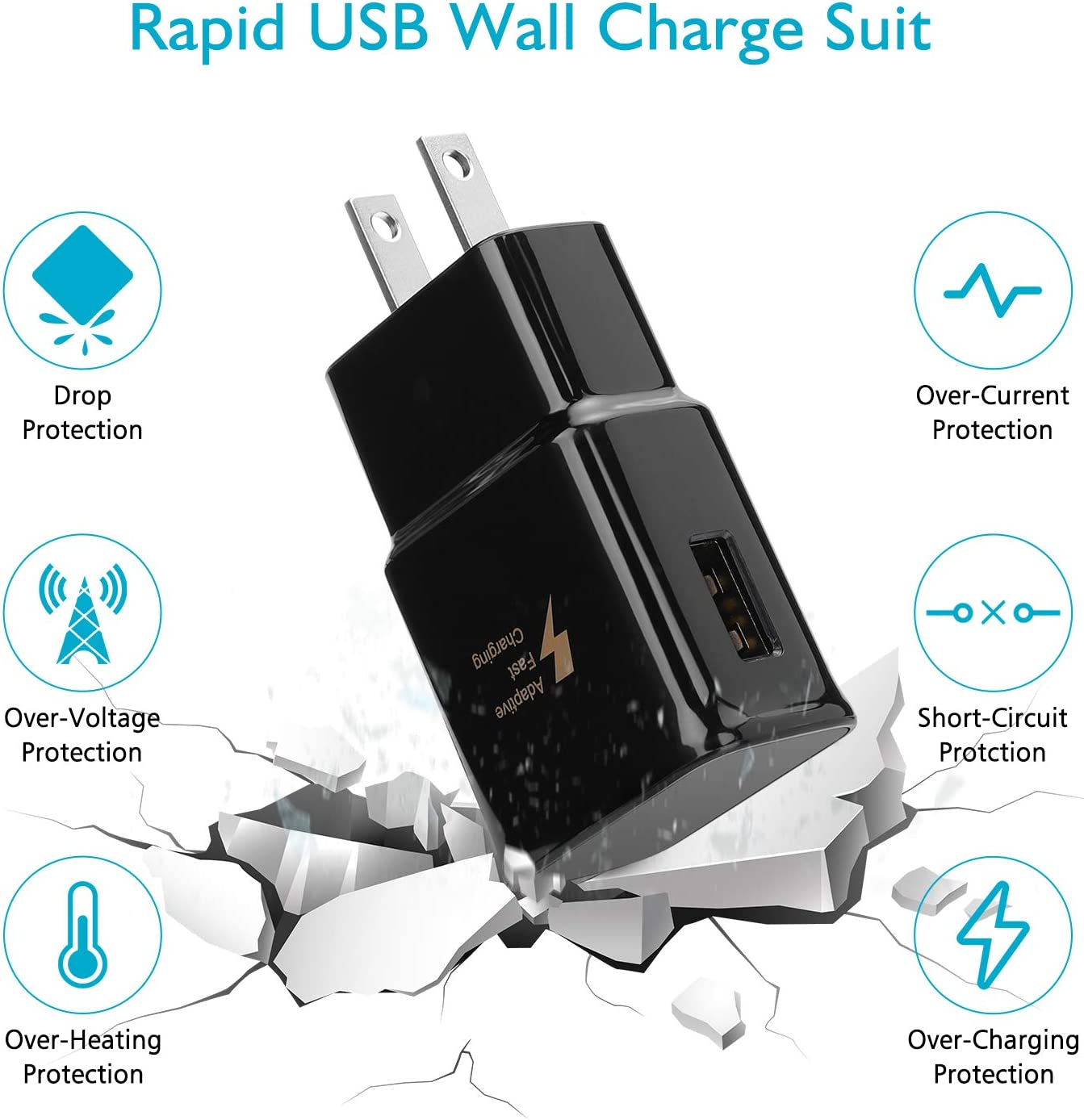 Adaptive Fast Wall Charger with Micro USB Cable Compatible with Samsung Galaxy S7//S7 Edge//S5//S6//S6 Edge//S4//S3//Note 5