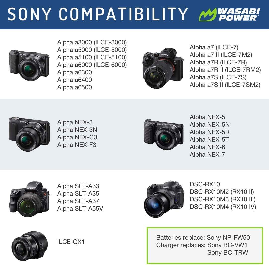 Wasabi, batería (Pack de dos) y cargador doble para Sony NP-FW50 ...